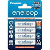 Panasonic Eneloop Batterie Stilo AA Ricaricabili, 1900mAh, 4 pezzi, Argento
