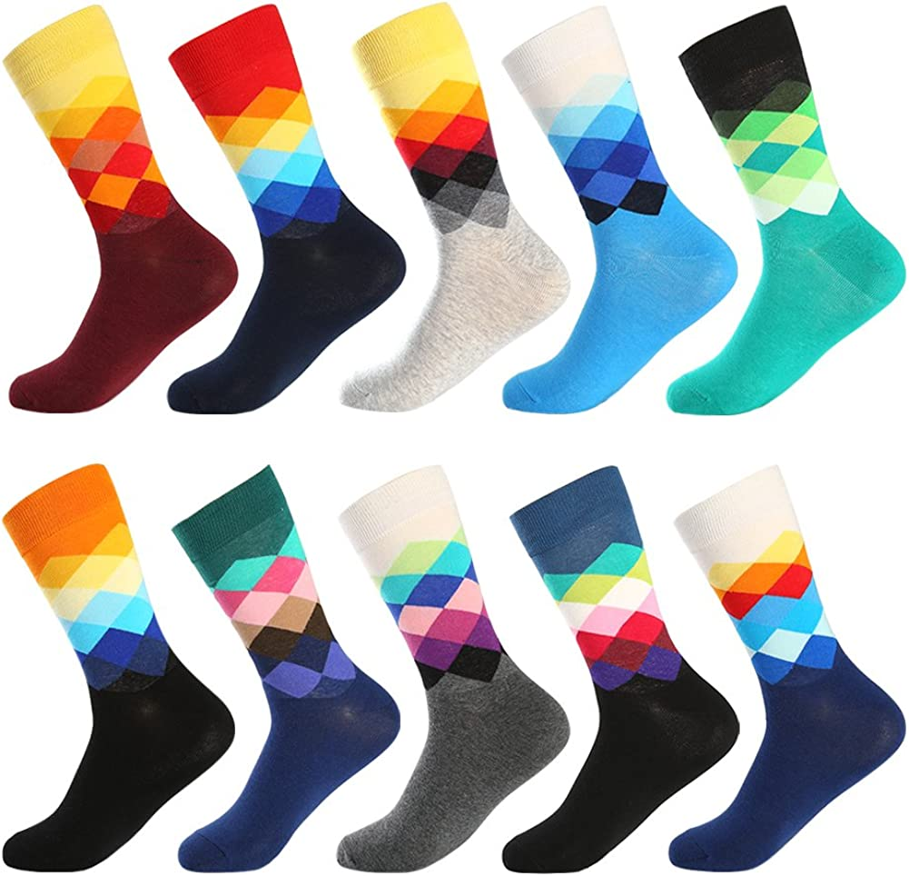 Mens Novelty Funny Dress Socks Pack of 4 Colorful Patterned Cool Casual Cotton Crazy Funky Socks, ,One Size 6-12