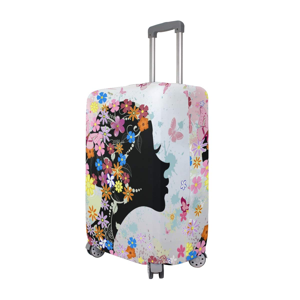 Baggage Covers Flower Girl Butterflies Pink Kiss Washable Protective Case
