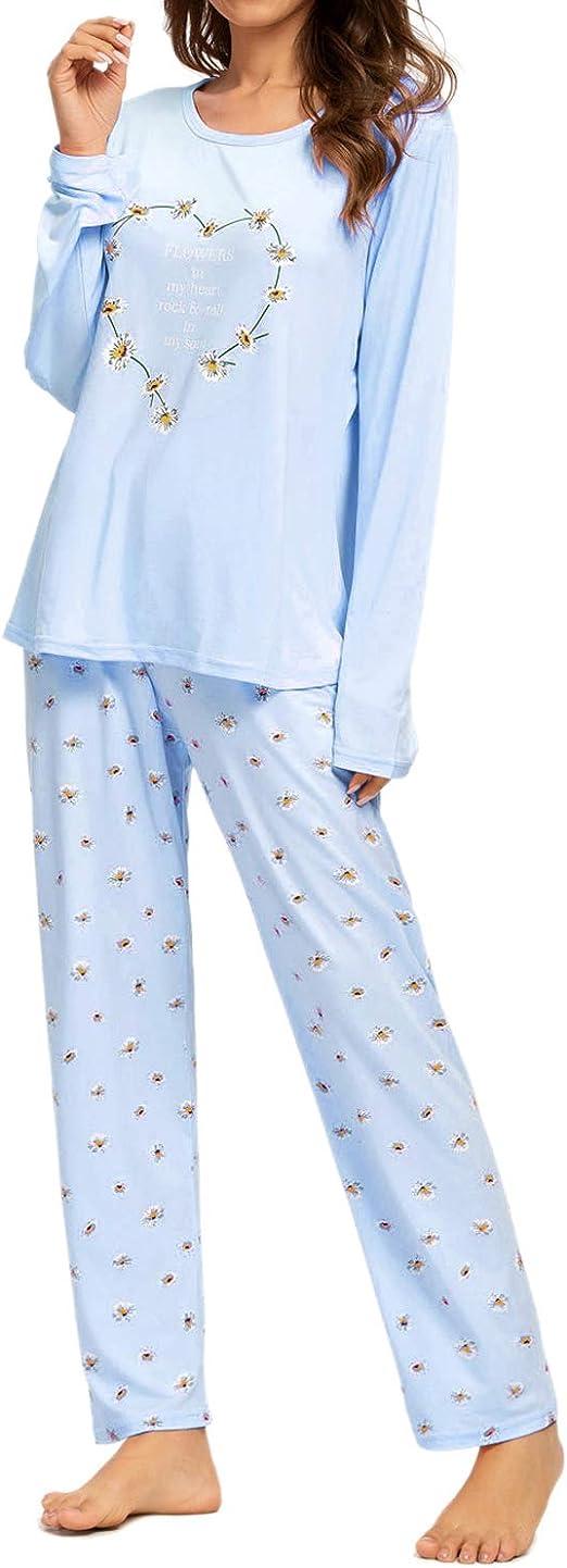 MINTLIMIT Pijama para Mujer, Conjunto de Pijamas de algodón para Mujer, Ropa de Dormir de Manga Larga y Pantalones Pijama Suave para Mujer: Amazon.es: Ropa y accesorios