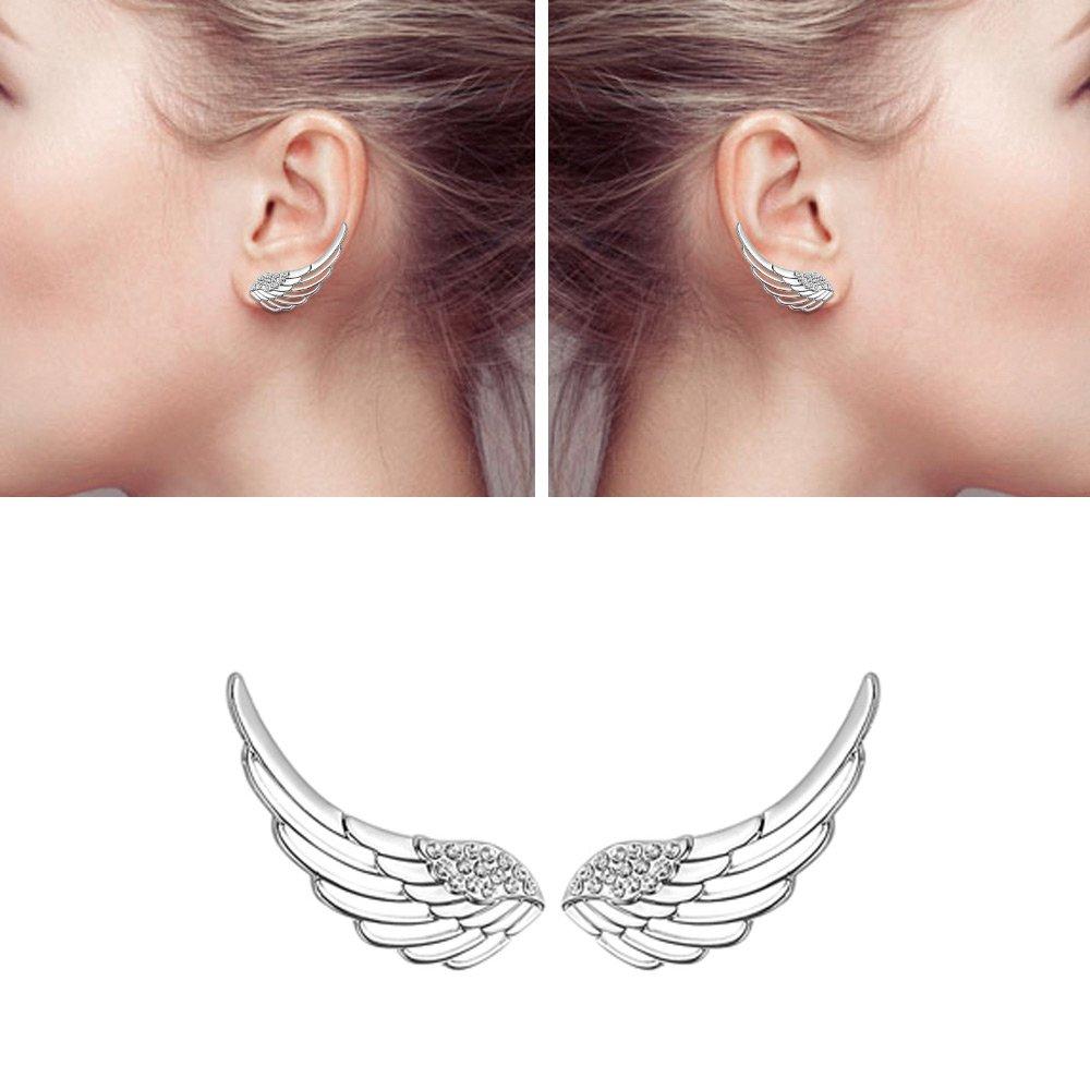 Mariafashion Women's 925 Sterling Silver Ear Cuffs Crystal Angle Swings Stud Earrings