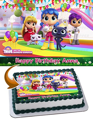 True and the Rainbow Kingdom Edible Image Cake Topper Personalized Birthday 1/4 Sheet Decoration Custom Sheet Party Birthday Sugar Frosting Transfer Fondant Image ~ Best Quality Edible Image for cake]()