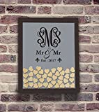 Teisyouhu Mr Mr Monogram Name Guest Book Sign In Gay Wood Drop Top Guest Book Wedding Alternative Frame for Same Sex Wedding Party Decorations 16 x 20 inch with 150 Hearts