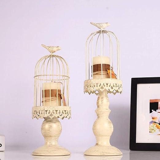 Heqianqian-Home Candelero 2 Piezas de Forma de Jaula de pájaro ...