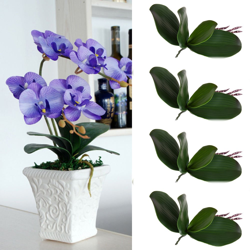 WHOSEE 4-Pack Artificial Butterfly Orchid Silk Leaf Fake Flowers Home Wedding Party Decor