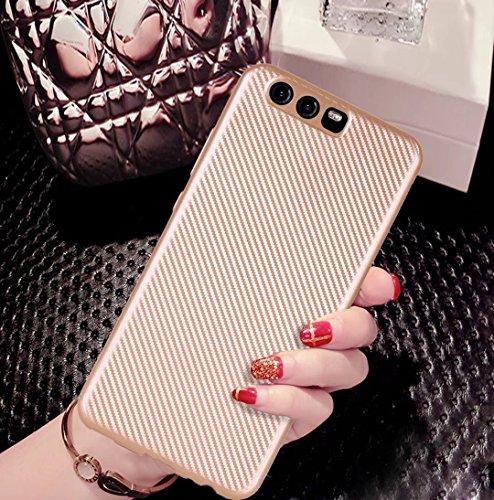 YHUISEN Huawei P10 caso, caucho delgado de fibra de carbono suave TPU híbrido caso de la caja a prueba de choques para Huawei P10 ( Color : Black ) Black