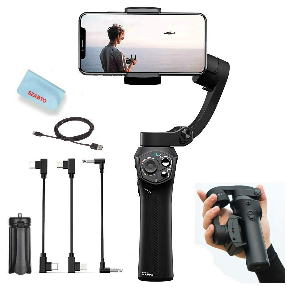 Snoppa Atom 3-Axis Foldable Handheld Gimbal Stabilizer for Smartphone iPhone Xs Max Xr X 8 Plus Samsung S9+ S9 S8 Action Camera GoPro Hero 7/6,Pocket-Sized,Wireless Charge,24H Run-time,310g Payload by SNOPPA