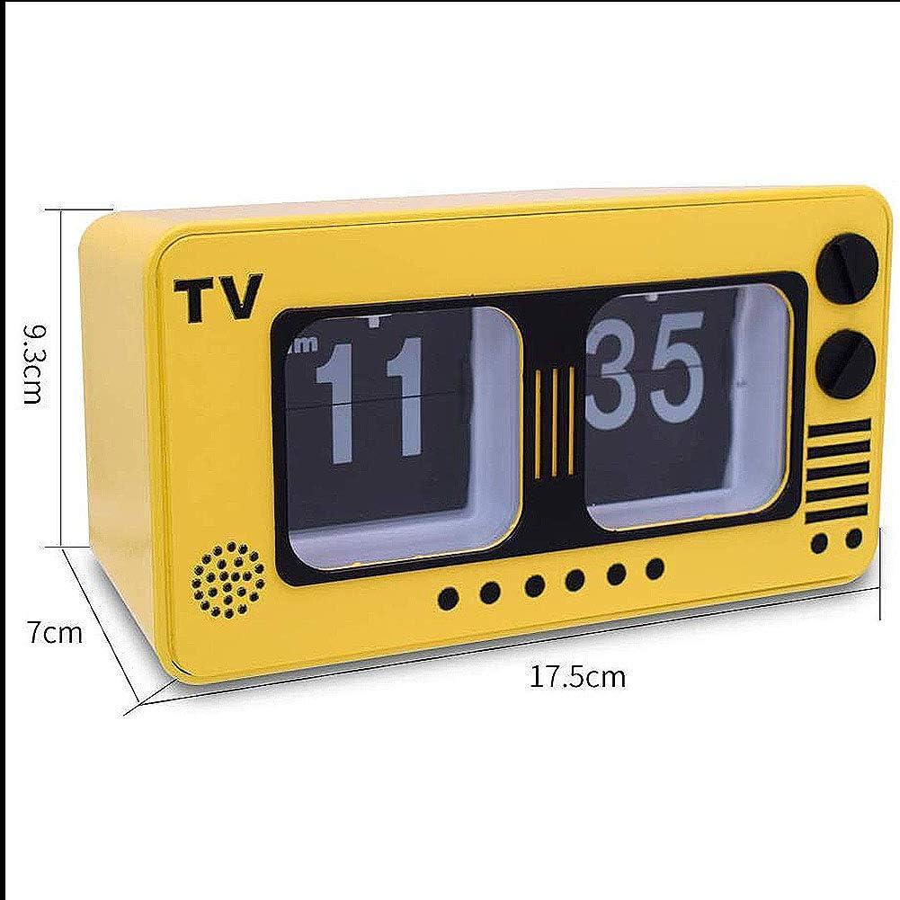 TV Digital Retro Flip Clock -televisión Auto tirón del Reloj Operación de Engranajes internos para el hogar decoración de la Pared Escritorio y Estante Relojes, Amarillo: Amazon.es: Hogar