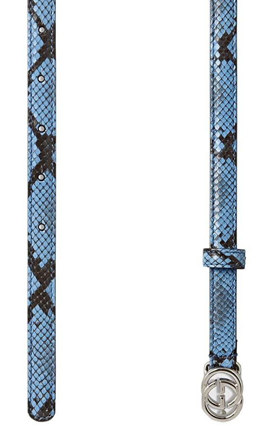 c7d39135d Gucci Women's Light Blue Python Interlocking GG Buckle Skinny Belt - Blue  -: Amazon.co.uk: Clothing