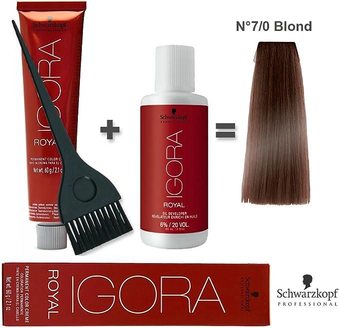 Kit de coloración para cabello 60 ml Igora Royal 7/0 rubio + oxidante 20 volúmenes, 60 ml