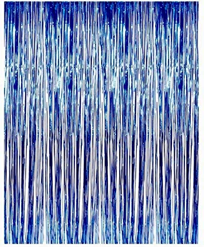MK Trading Blue Metallic Foil Fringe Door & Window Curtain Party Decoration 3' X 8' (36