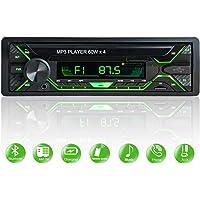 Aigoss Autoradio Bluetooth FM Radio Stéréo 60W x 4, Lecteur MP3 Poste Main Libre Voiture, Support USB/SD/TF/AUX + Télécommande, Changer Automatiquement l'affichage de la Lumière 5 Couleurs