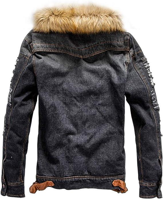 Rmeioel Mens Fall Winter Pocket Button Rinsing Flick Denim Faux Fur Hooded Jacket Outerwear Coat