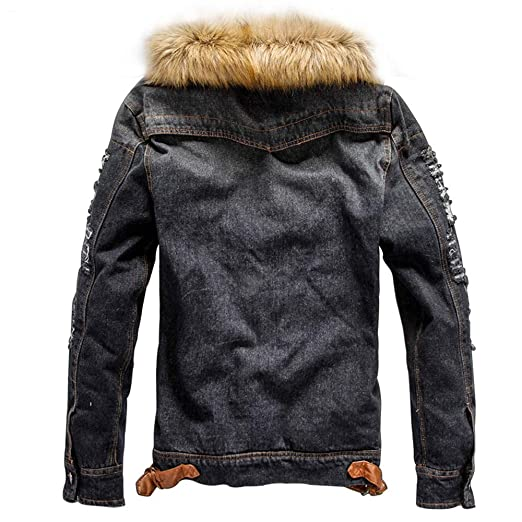 YOcheerful Mens Denim Jacket Cool Hip Hop Bomber Jacket ...