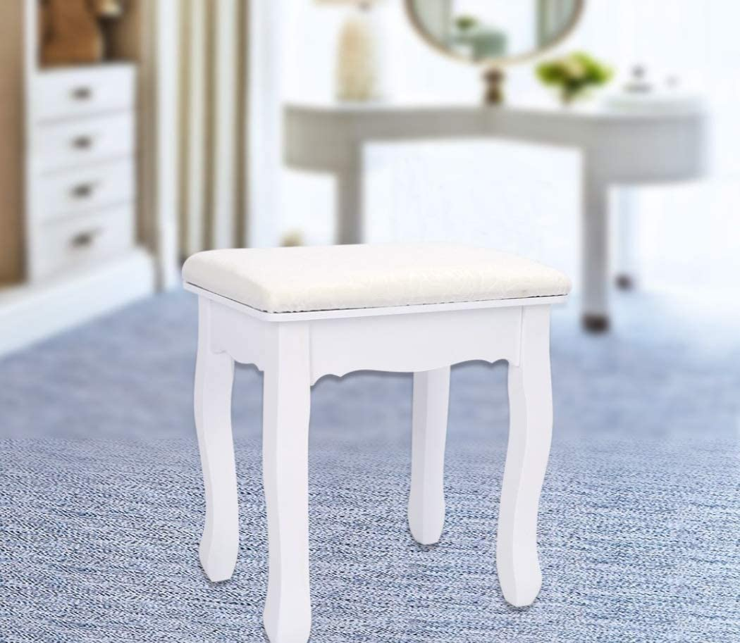 28 Golden 44cm Vintage Dressing Table Stool Soft Padded Piano Room Chair Rest Makeup Seat N//Y Table Stool 37