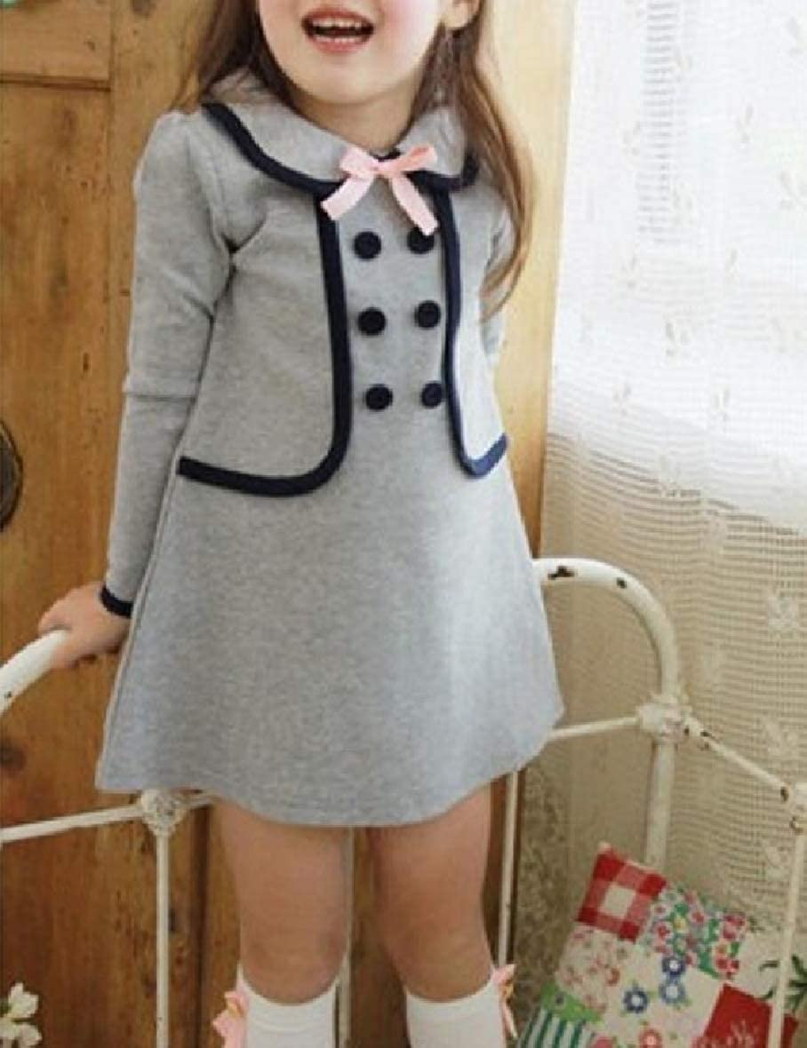 Zimase Big Little Girl Preppy Chic Double Breasted Long Sleeve Dress