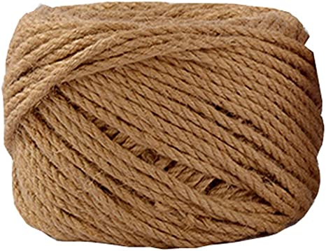 Zorfeter 98Feet Natural Jute Twine 5mm Thick Strong Jute Rope for Arts Crafts DIY Decoration Gift Wrapping Gardening Applications