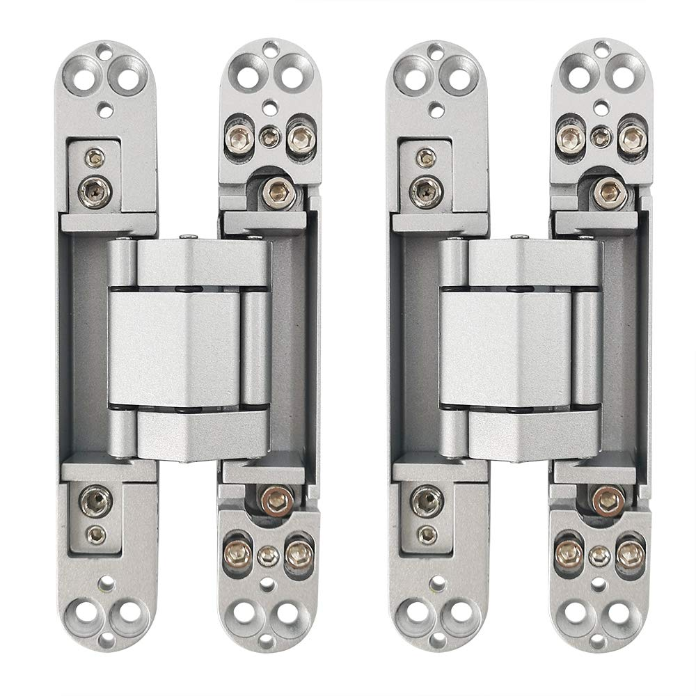Alamic Concealed Door Hinges Heavy Duty Invisible Hidden Hinges 3-D Adjustable - 1 Pair