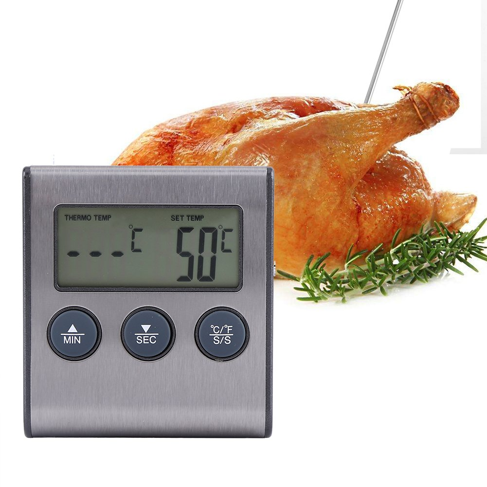 Digital Meat Thermometer with LCD Display for BBQ Grill Meat Oven Kitchen Food Cooking Temperature Measuring Hot