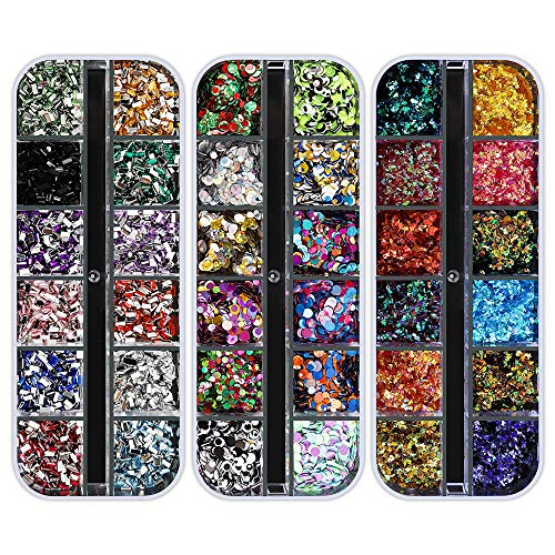 Artdone 12 packing containers Nail Rhinestones,Nail Gems Nail Diamonds,Nail Art Studs Nail Crystals Nail Sequins for Nails Kit with 1 Tweezers and three Pen for Nail Art Supplies Accessories