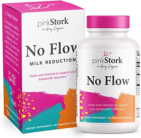 Pink Stork No Flow Supplement: Milk Reduction Supplement for Weaning Mothers, Naturally Reduce Breast Milk Production, Stop Lactation, Lactation Supplement, Women-Owned, 60 Capsules
