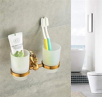 KIEYY Cepillo de dientes Antiguo baño de metal Cuarto de baño Doble cepillo de dientes Copas Titular Accesorios de baño: Amazon.es: Bricolaje y herramientas