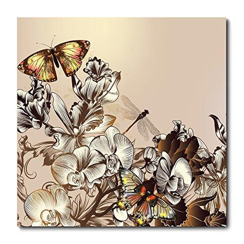 Placa Decorativa - Flores e Borboleta - 1424plmk
