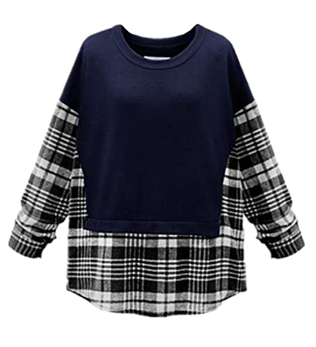 BESTHOO Camisetas Mujeres Camisetas De Manga Larga Cuadros Patchwork Cuello Redondo Casuales T Shirt...