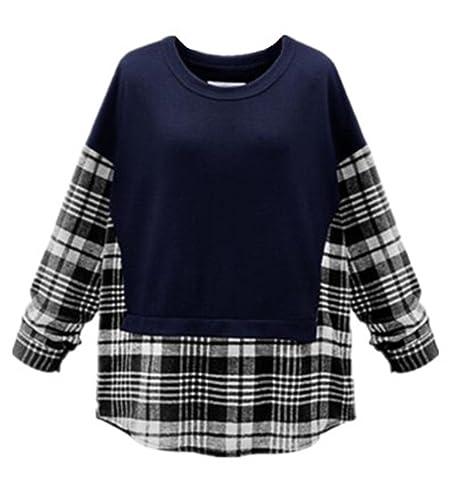 BESTHOO Camisetas Mujeres Camisetas De Manga Larga Cuadros Patchwork Cuello Redondo Casuales T Shirt Suelto Maglia Blusas Camisas Tops