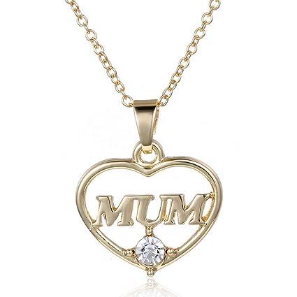 c7763ec2a089 Tinksky Collar del Corazón Collar Colgante para Mujer Mamá (Oro ...