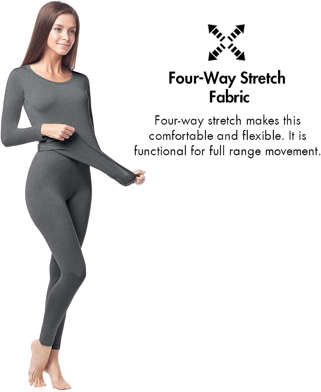 LAPASA Womens Heavyweight Thermal Underwear Long John Set Fleece Lined Base Layer Top /& Bottom L44