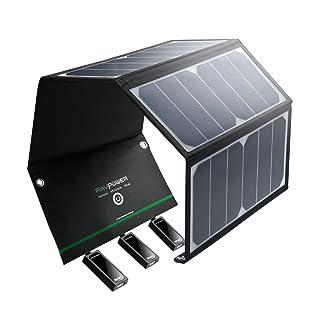 RAVPower 24W Cargador Panel Solar Batería Placa Plegable con Triple Puertos iSmart USB para Móviles, Tablets y Otros Dispositivos Digitales (con la eficiencia de conversión de Smart Chip IC, ligero, a prueba de agua, en acero inoxidable, con agujeros y ganchos, 2 Cables Micro-USB)