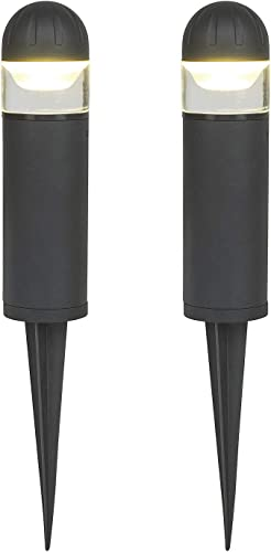 MOON BAY 2731LED-NA x 2 Bollard Landscape Path Light, Low Volt 2W White LED,Waterproof for Outdoor Body with Solid Glass and Aluminum Spike, 2pack, Matt Black