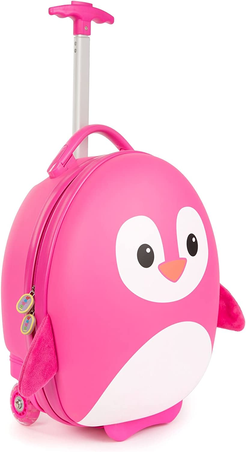 Boppi Tiny Trekker Kids Luggage Travel Suitcase Carry On Cabin Bag Holiday Pull Along Trolley Lighweight Wheeled Holdall 17 Litre Hand Case – Pink Penguin