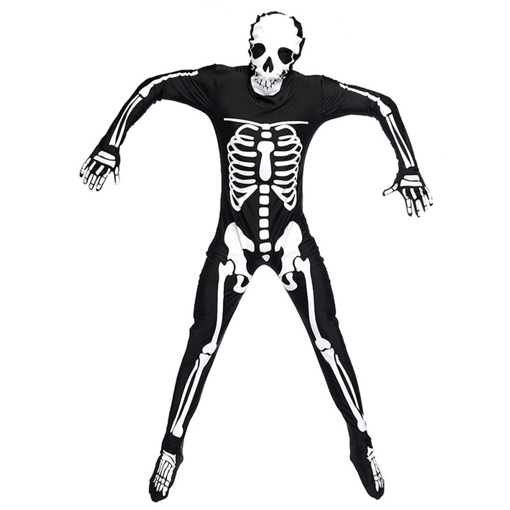 ThinkMax Creative Skeleton Jumpsuit Full Bodysuit for Halloween Fancy Ball Role Play Stage Costume Ghost Catsuit