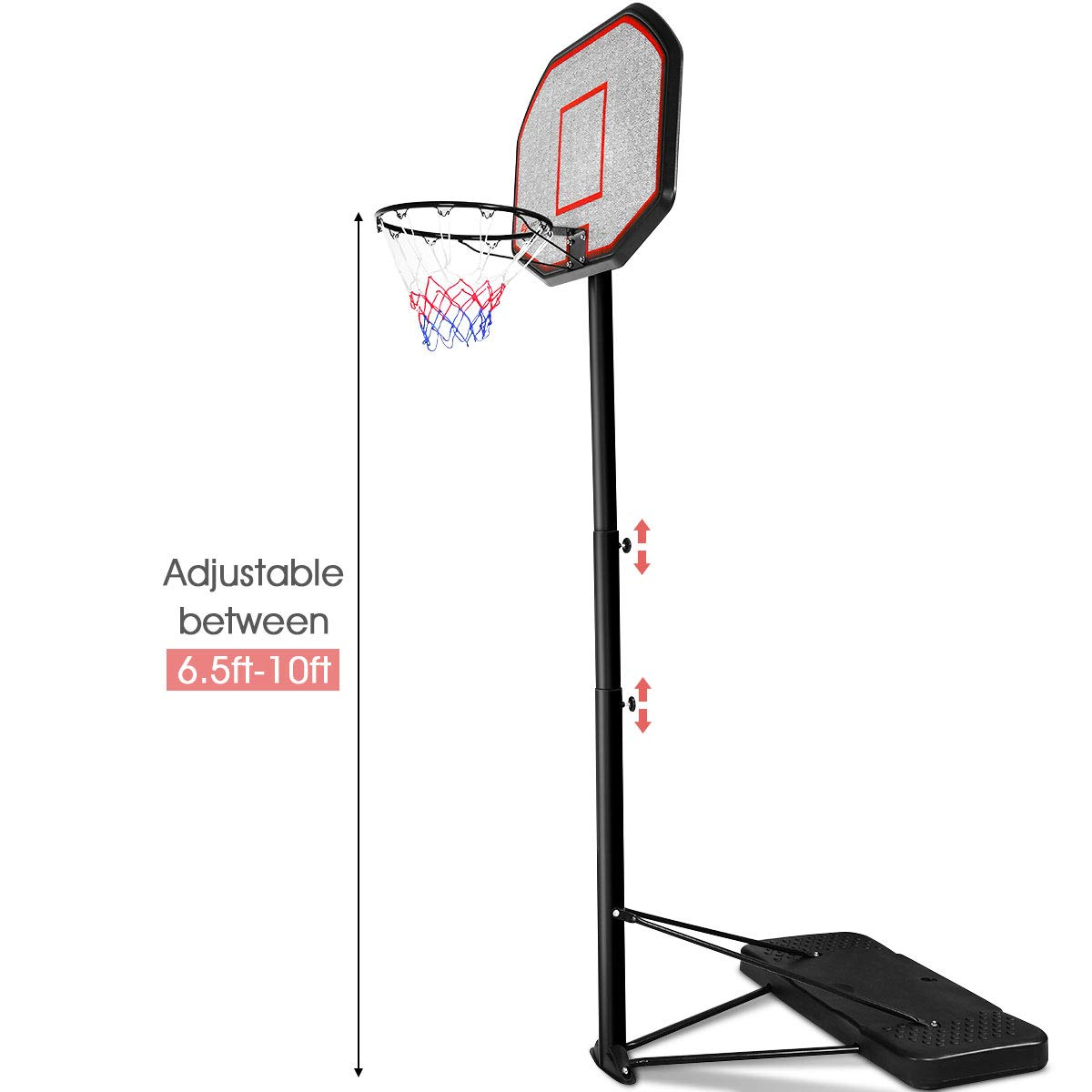 "GYMAX 6.5-10 ft Height Adjustable Basketball Hoop, 43"" Portable Basketball System with Wheeled Base, Indoor & Outdoor Shatterproof Basketball System Stands for Kids, Adults"