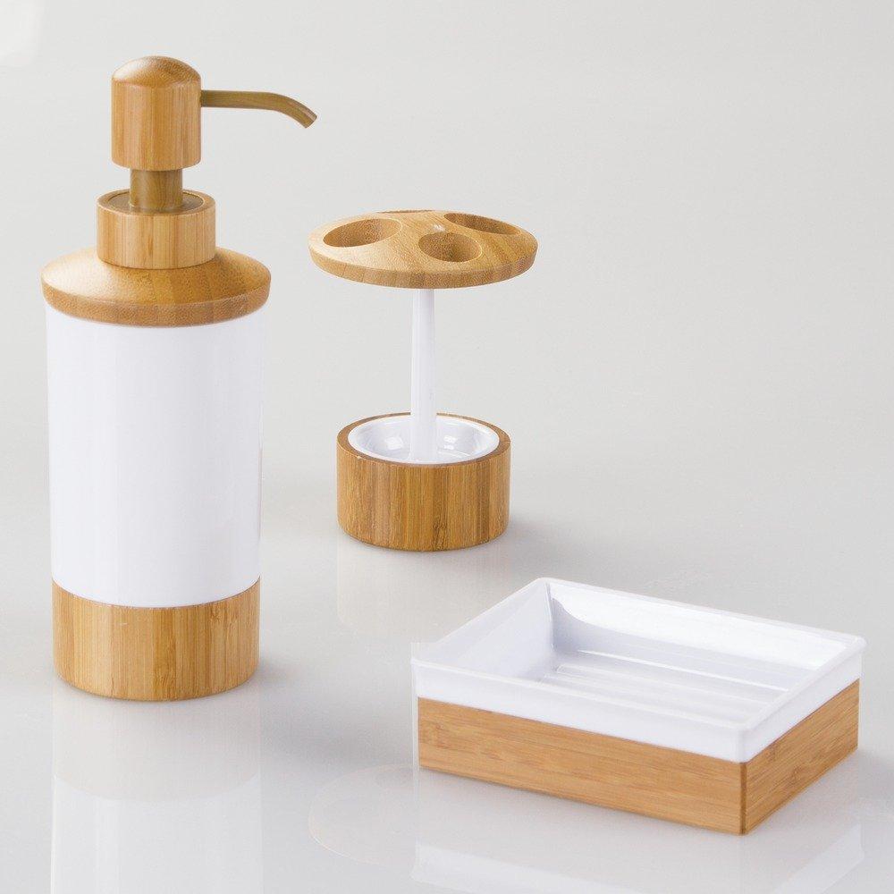 InterDesign Formbu Jabonera inoxidable | Jabonera en un look natural | Accesorios para baños en madera | bambú/plástico blanco: Amazon.es: Hogar