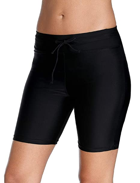 1d9c77444b CharmLeaks Women Long Bike Shorts Drawstring Swim Short Swimsuit Bottoms  Black M