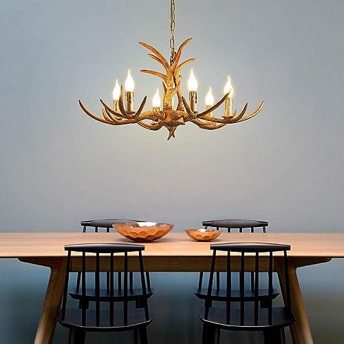 6 Lights Antler Chandelier Antler Resin Chandelier Hanging Lamp Rural Ceiling Lamp Retro Style Chandelier Suitable