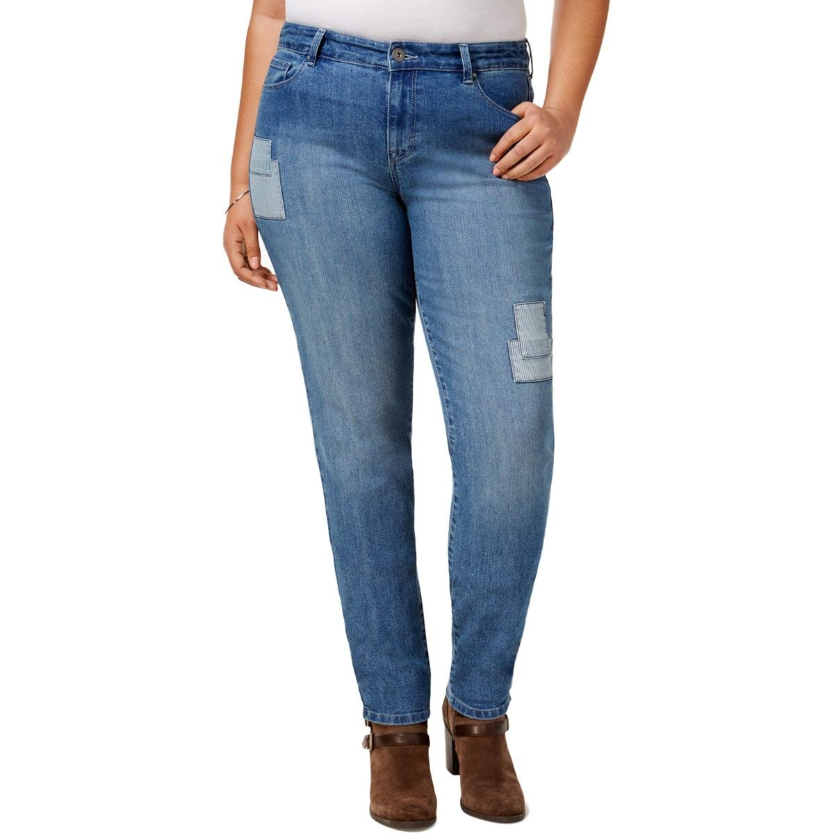 Style & Co. Womens Plus Camino Wash Patchwork Skinny Jeans Blue 18W