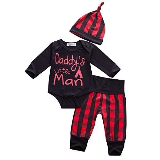 f222c919951 Glosun Baby Boys Daddy s Little Man Long Sleeve Romper Plaid Pants Hat  Outfit Clothes Set 3Pcs