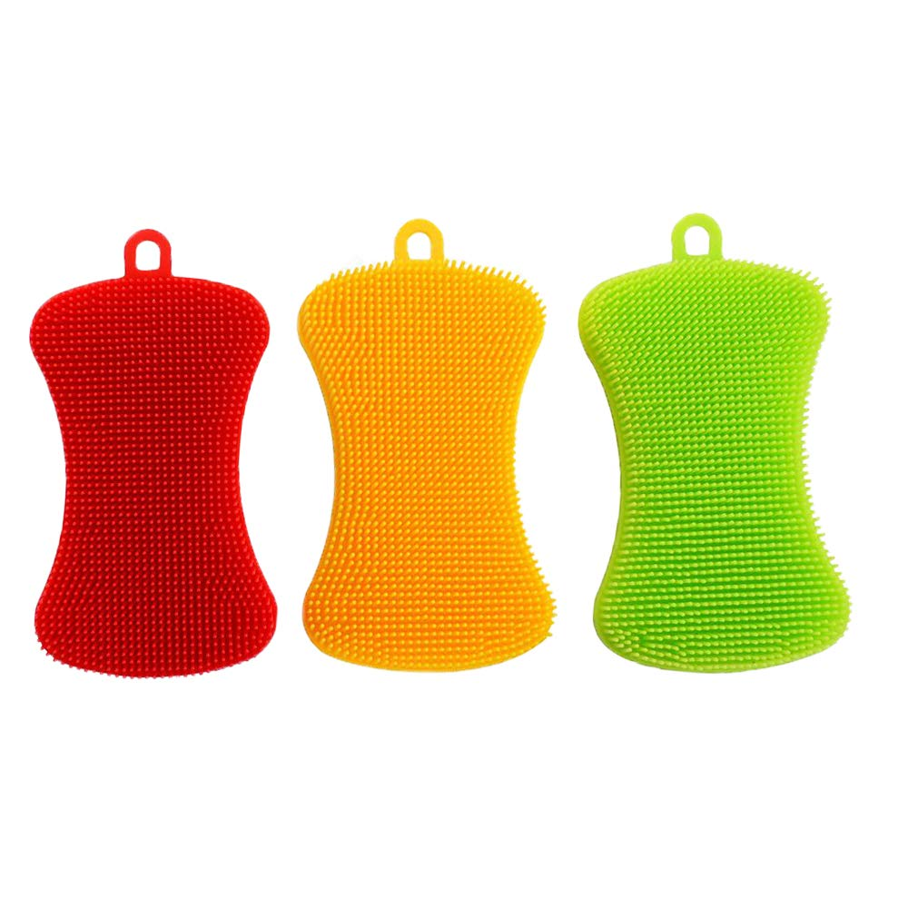 Silicone Scrubber Brush Kitchen Dishwashing - 3 Pack Samtlan Food Safe Anti-Bacterial Non-Stick Cleaning Sponges for Kitchen Bathroom, Green, Red, Yellow