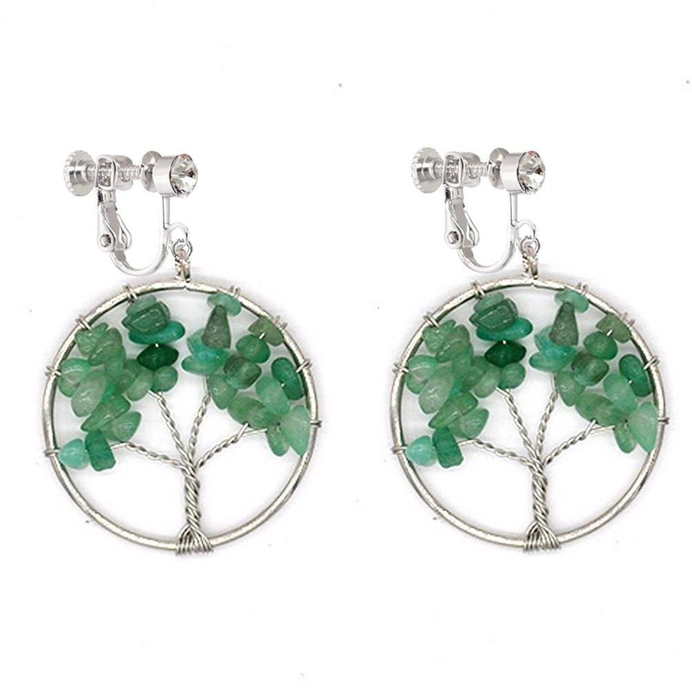 Dangle Clip on Earring Tree of Life Fashion Jewelry Green Crystal Gemstone Amazonite Wire Wrap for Girls