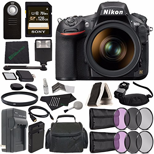 Nikon D810 DSLR Camera with 24-120mm Lens + Rechargable Li-Ion Battery + Charger + Sony 128GB SDXC Card + HDMI Cable + Remote + Memory Card Wallet + Flash Bundle ()