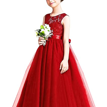Amazon.com: OwlFay Girls Lace Long Maxi Dress Flower Wedding Bridesmaid Pageant Tulle Gown for Kids: Clothing