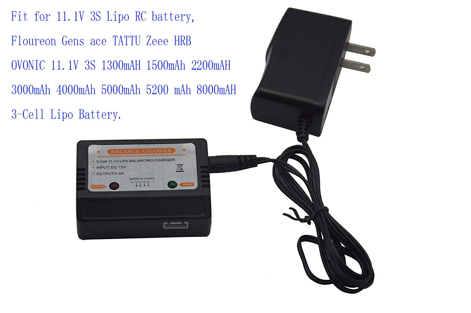Blomiky 15V Wall Charger with 11.1V XH-4P Plug Balance Box for 11.1V 3S Lipo Battery 15V Charger