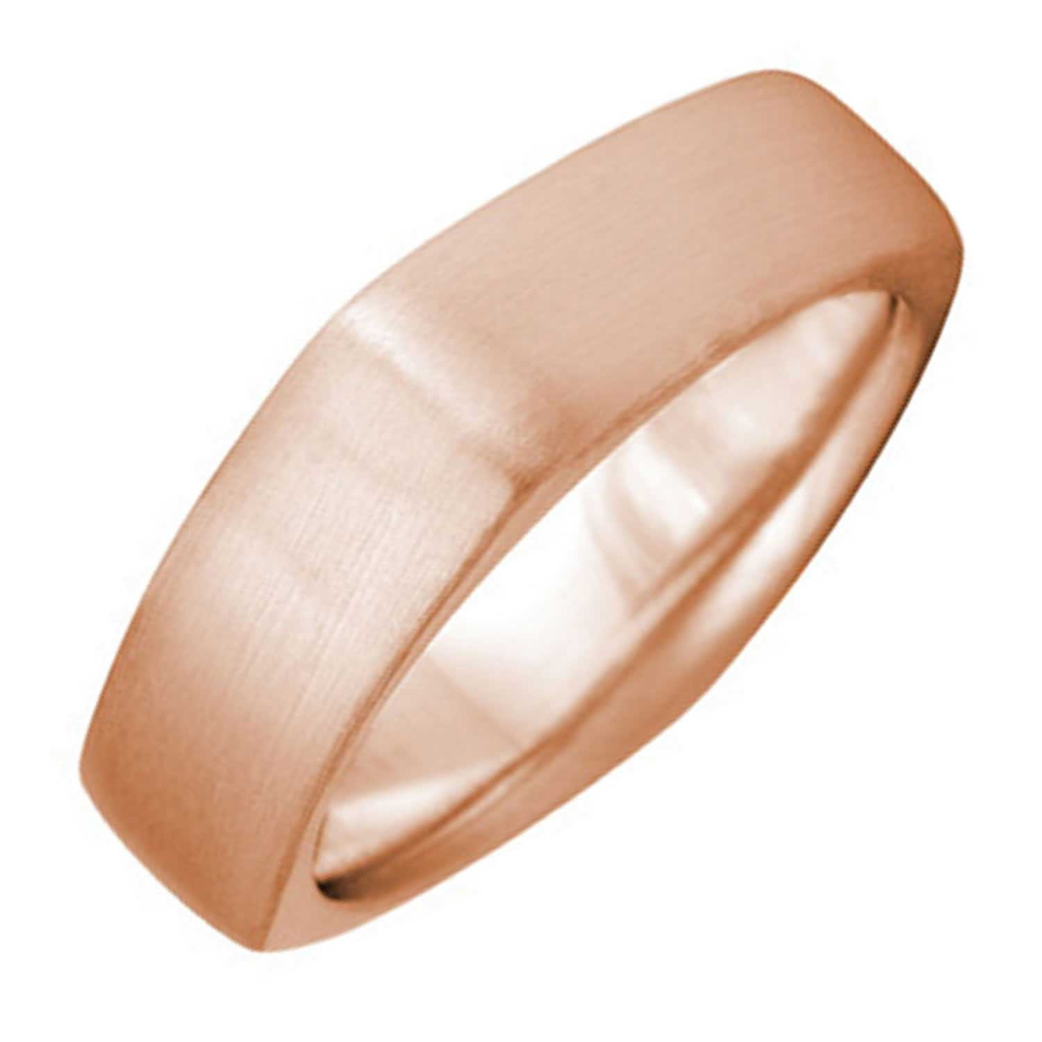 14K Rose Gold Traditional Top Flat Men's Square Comfort Fit Wedding Band (5mm) Size-9.5c1