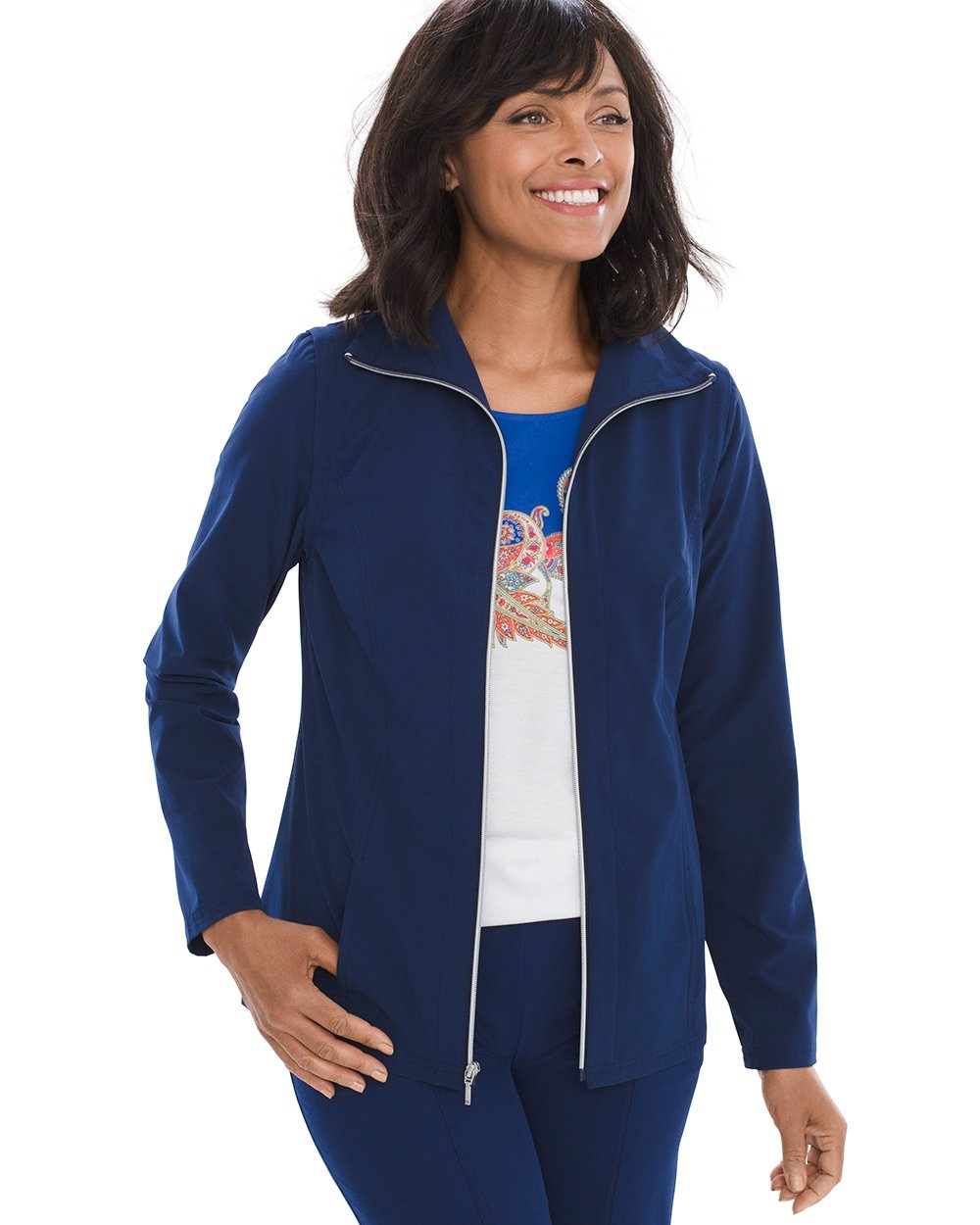 Chico's Women's Zenergy Neema Convertible Jacket Size 8/10 M (1) Tonga Navy