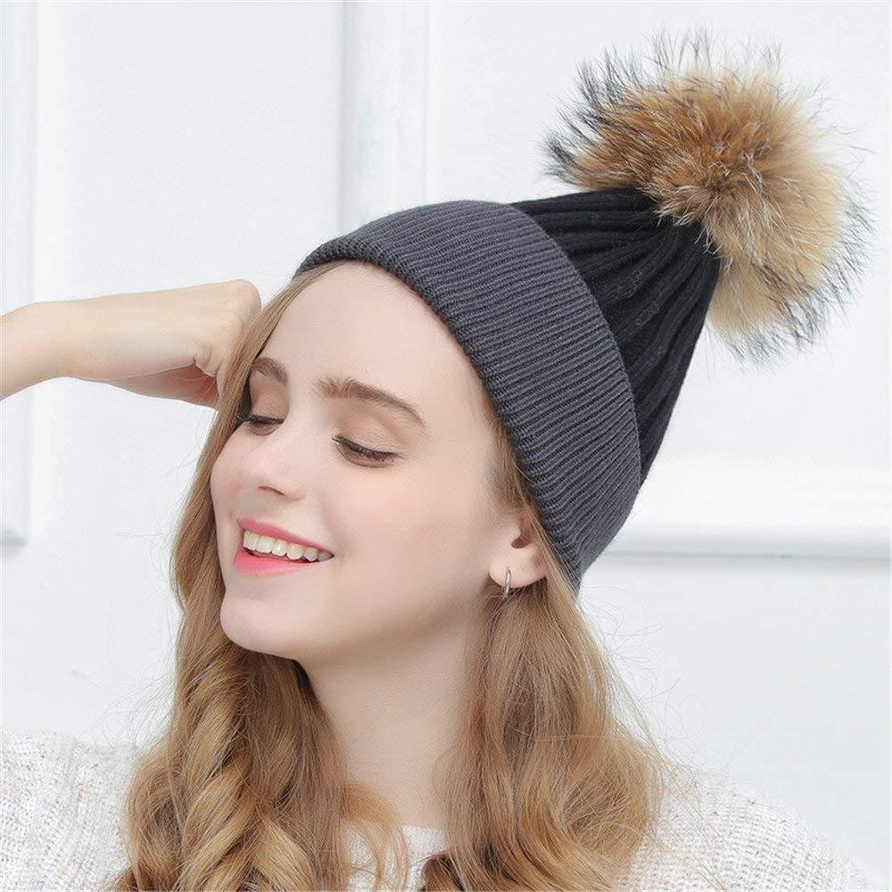 Thundertechs The Girlfriend Boyfriend Women's Cap, Winter Simple, Double Knitted hat, Cute Hair Ball Cap, Autumn Winter (Color : D, Size : M (56 58cm))