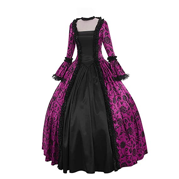 Buy Succper Renaissance Fairytale Vampire Brocade Dress Masquerade Gown  Theater Cosplay Halloween Costume Medieval Dress Purple at Amazon.in